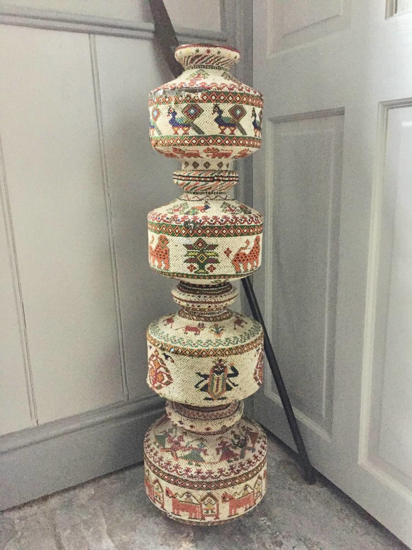 Unusual Turkish / Ottoman Folk Art Bead Covered Vessel