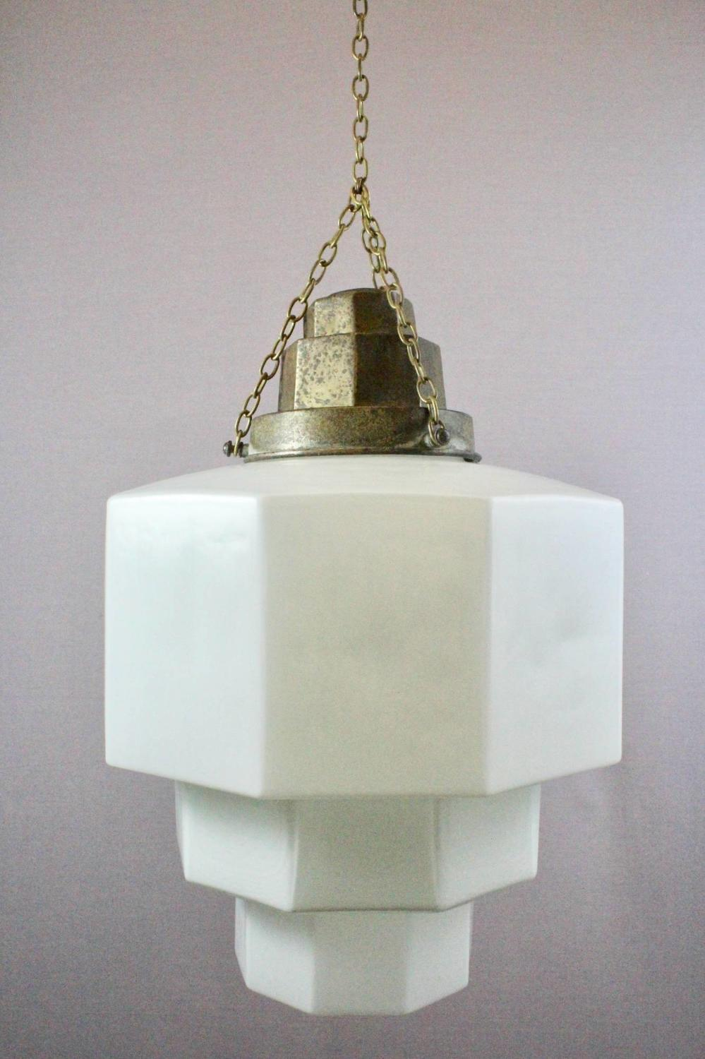 Large Art Deco White Opaline Glass Ceiling Light