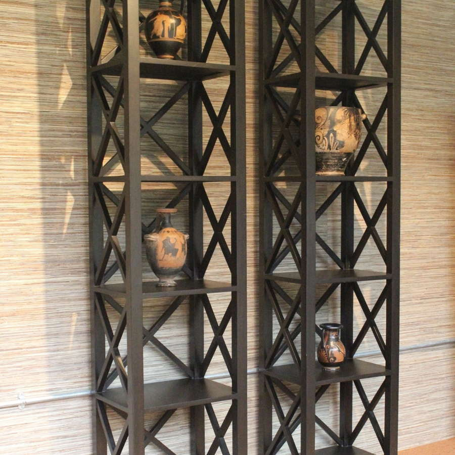 Pair of X frame Etageres / Bookcases in Empire Style