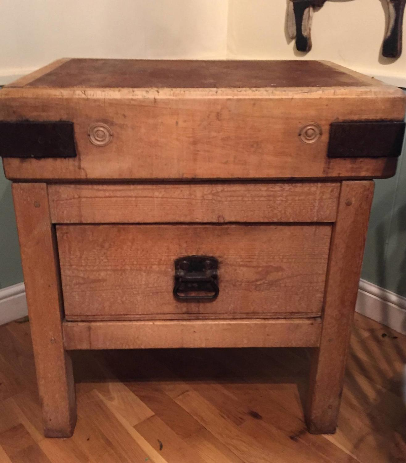 Antique Butcher's Block on Stand