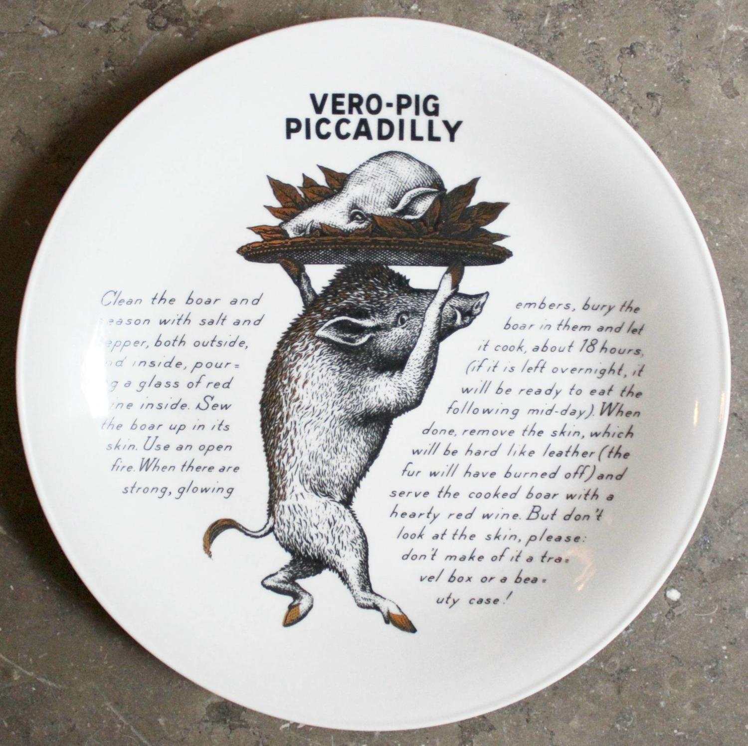 Fornasetti VERO-PIG Recipe Plate for Fleming Joffe