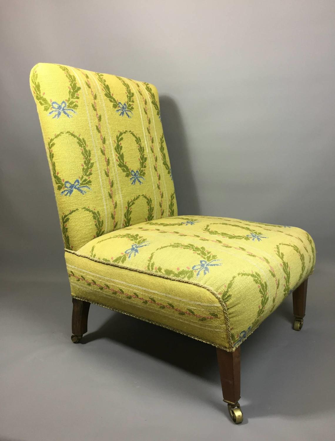Antique Needlework Upholstered Slipper Chair
