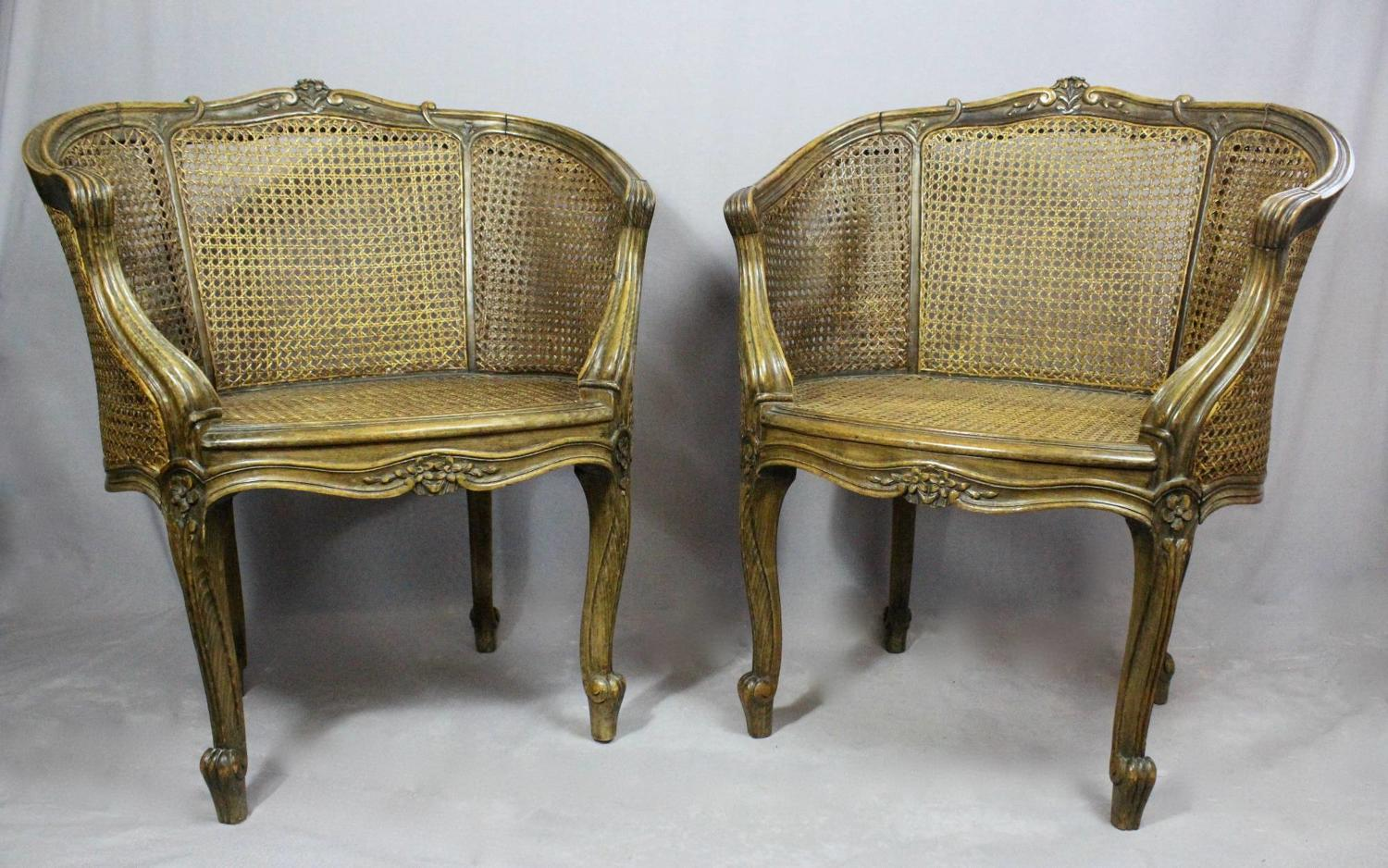 Pair of Louis XV Style Bergere Chairs