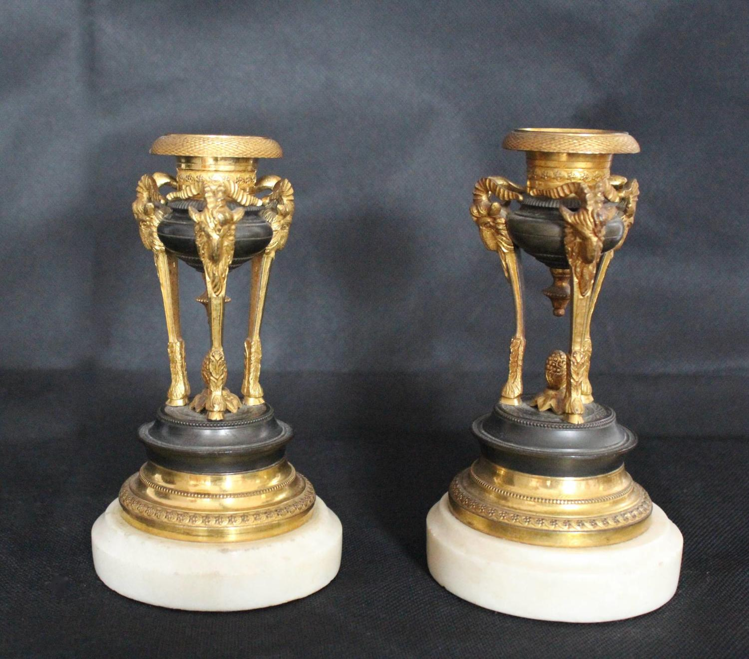 French Gilt Bronze Candlesticks in Empire Style