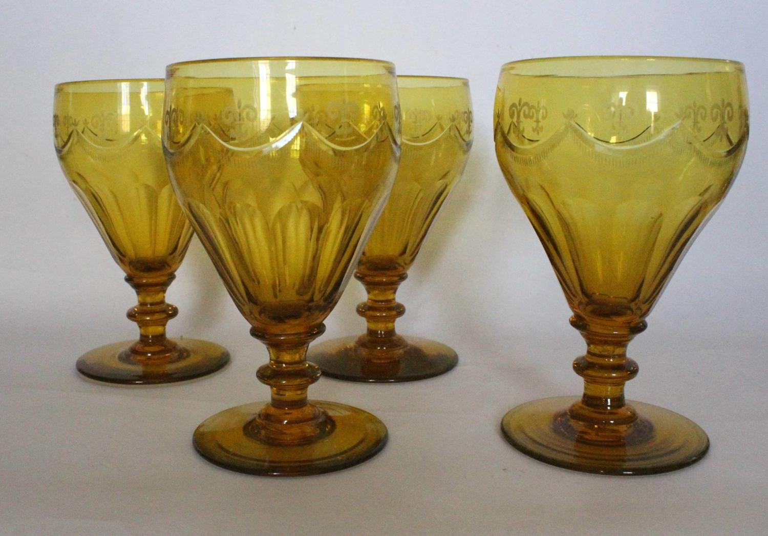 Large Antique Amber Glass Rummers