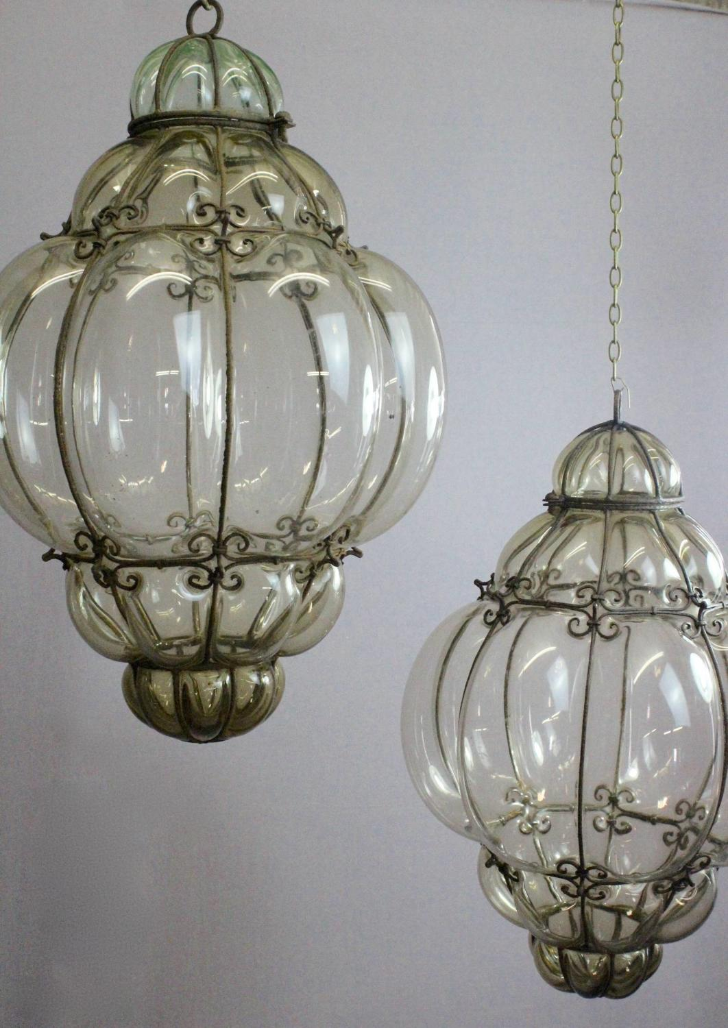 Large Pair of Venetian Glass Lanterns