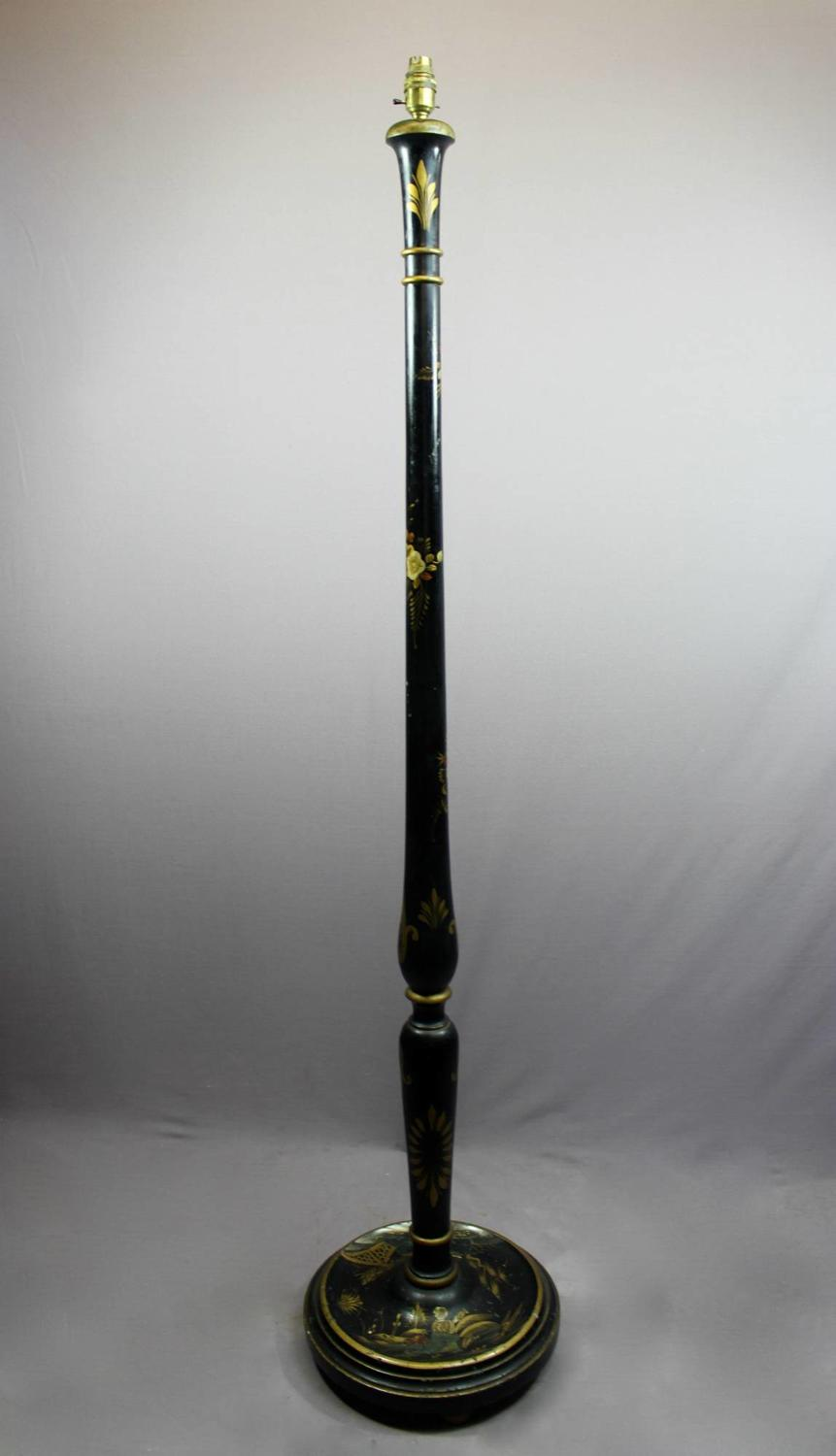 Chinoiserie Decorated Black Lacquer Standard Lamp