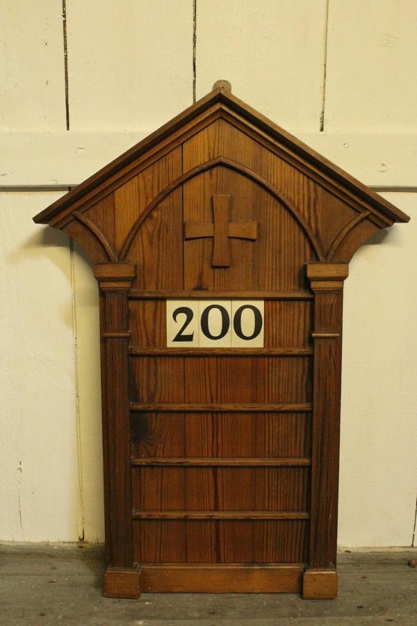 Victorian Pitch Pine Ecclesiastical Hymn Board