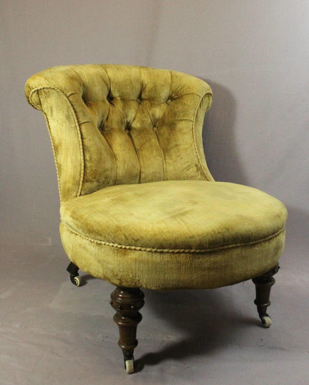 Victorian Gold Upholstered Button Back Chair