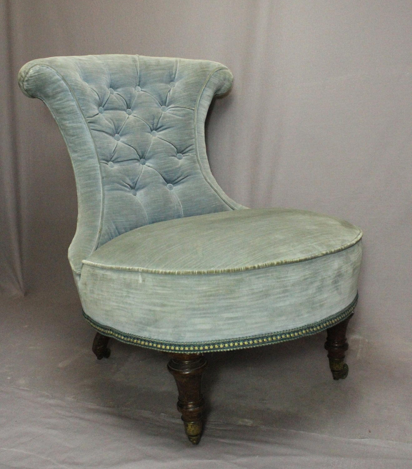Victorian Blue Velvet Button Back Bedroom Chair