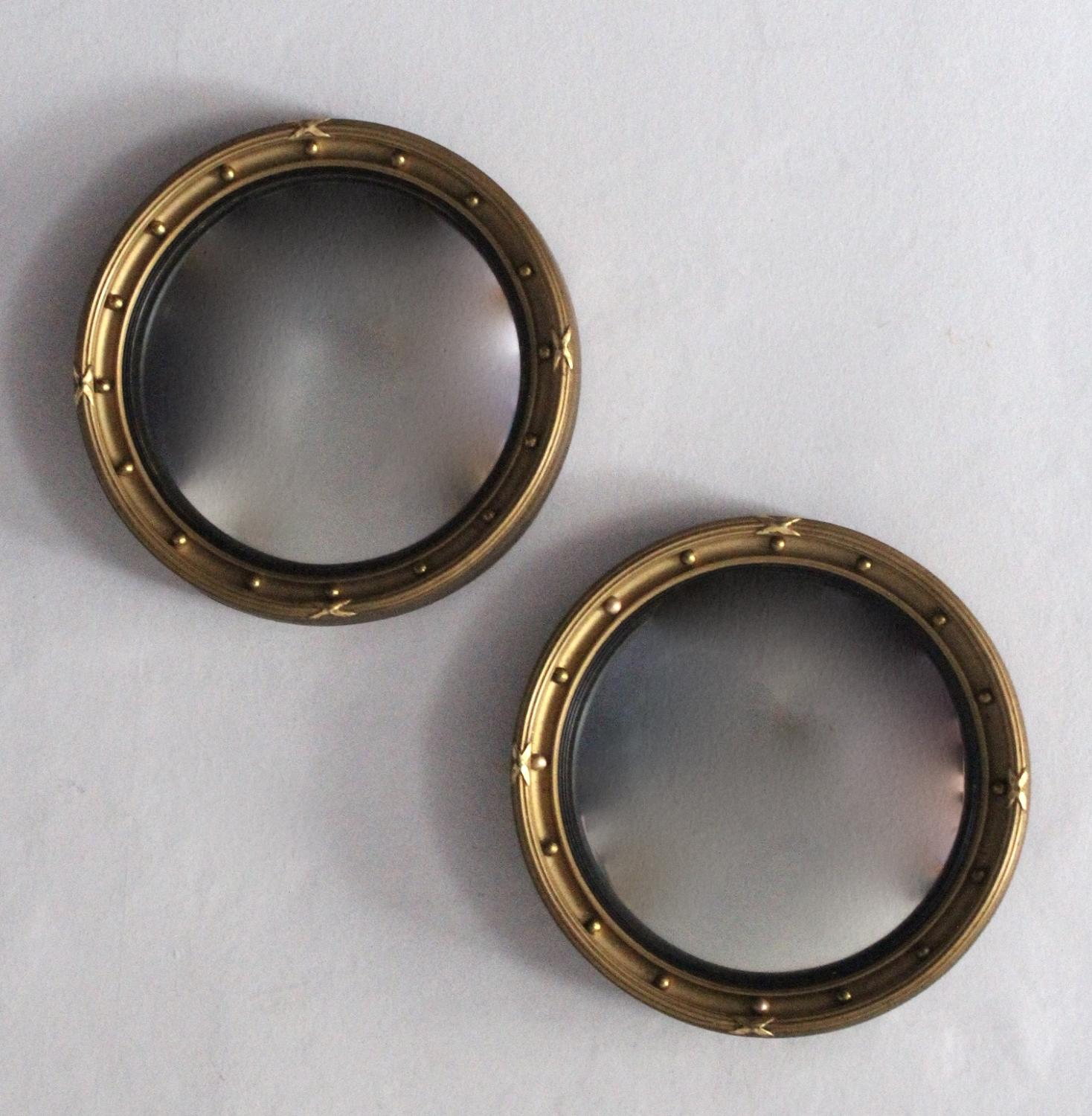 Small Pair of Gilt Convex Mirrors