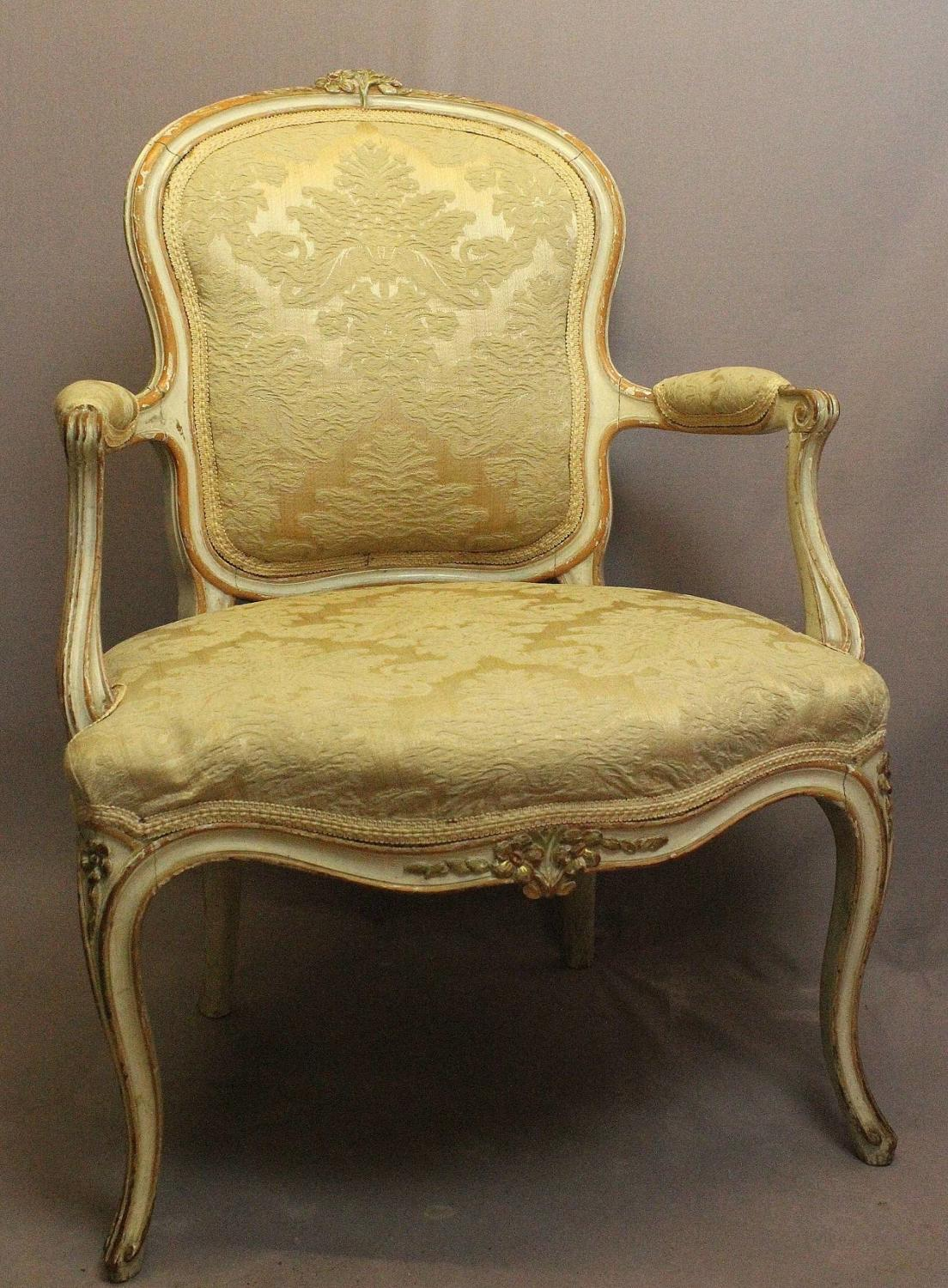 French Louis XV Style Painted Fauteuil