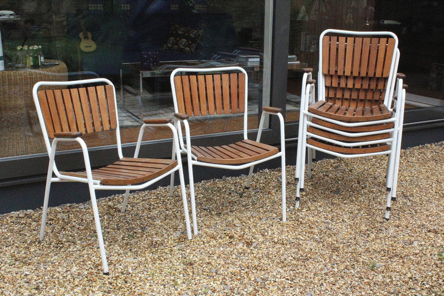 Danish BKS Denmark Teak Stacking Garden Chairs