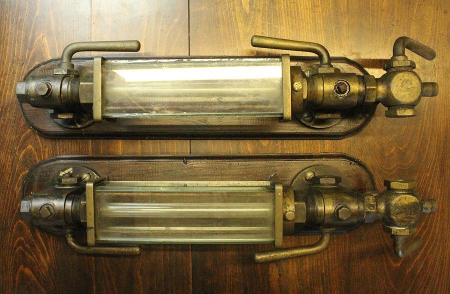 Pair of Antique Steam Locomotive Water Gauges