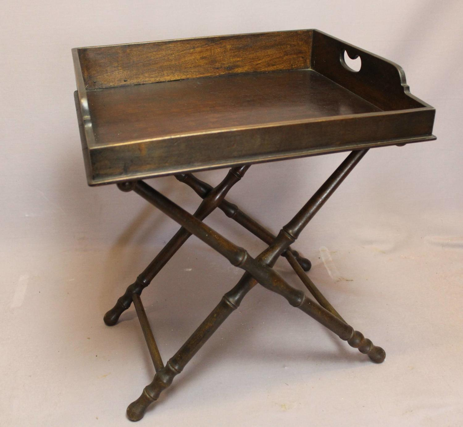 Mahogany Butler's Tray on Folding Stand