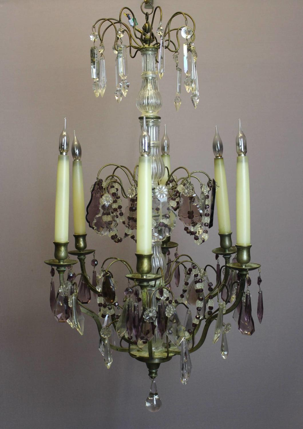 French Amethyst Cut Glass Six Branch Chandelier