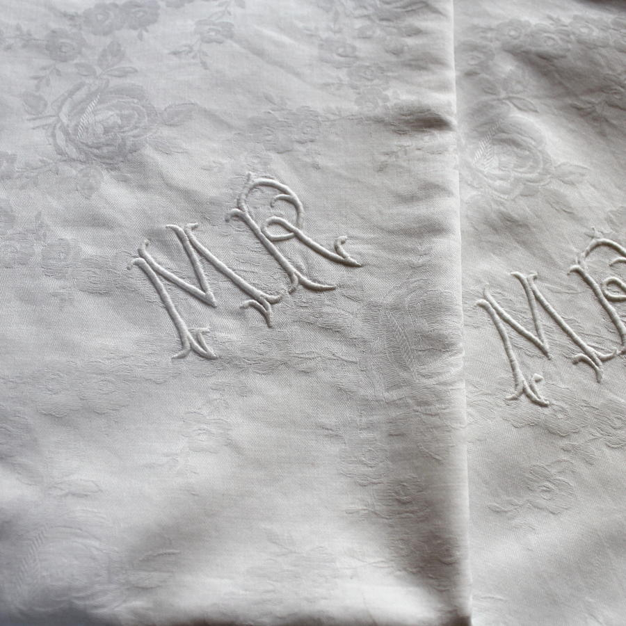 Pair of French Monogrammed Damask Linen Pillowcases