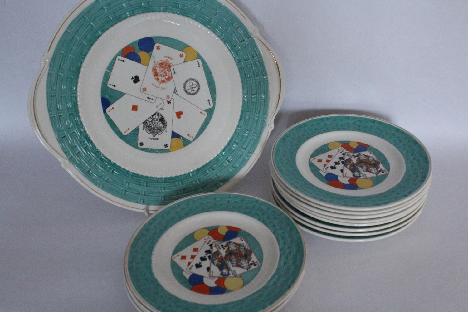 French Pottery Playing Card Plates