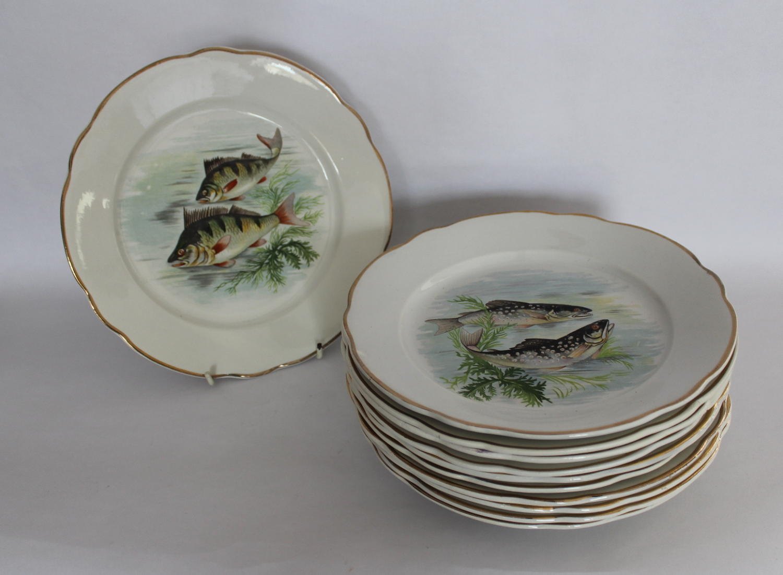 Vintage Sarreguemines Pottery Fish Plates