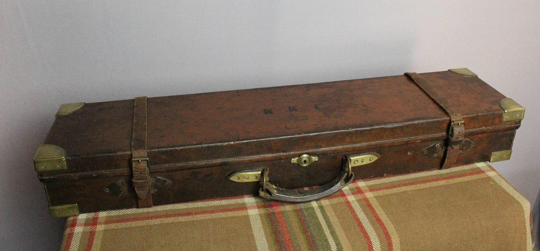 Antique Brass Bound Leather Shotgun Case