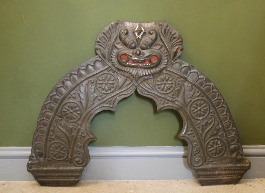 Tibetan Brass Shrine Panel / Door Pediment