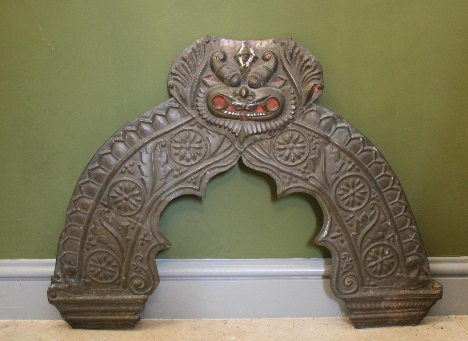 Tibetan Brass Shrine Panel / Door Pediment
