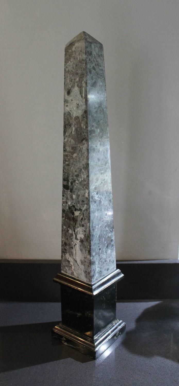 Large Grey & Black Marble Obelisk