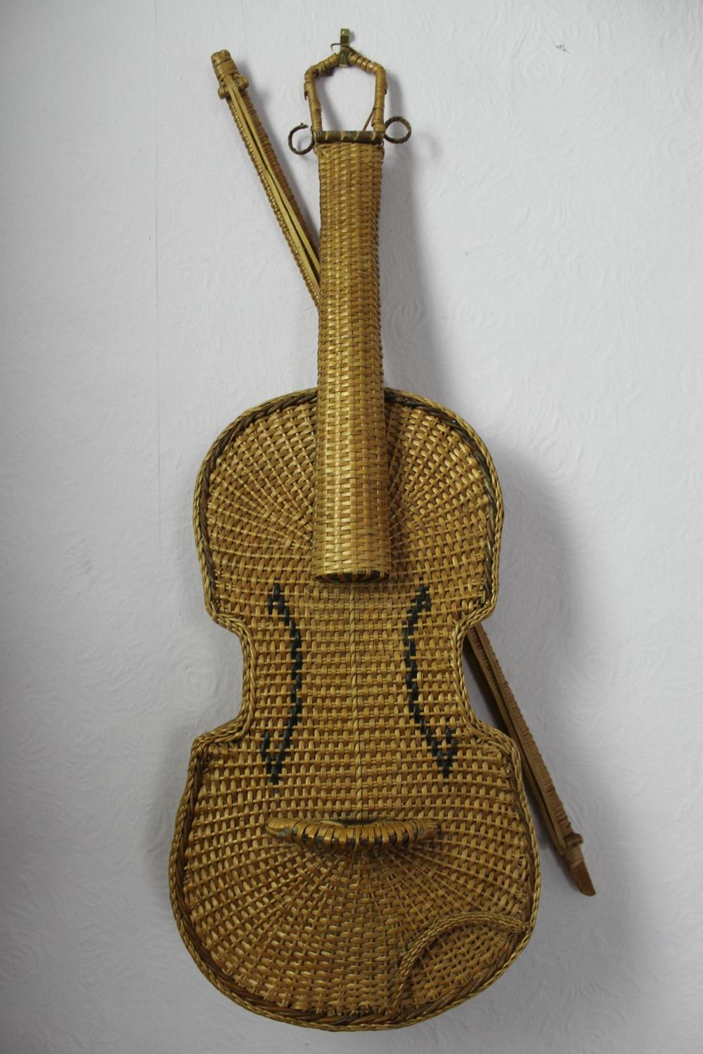 Unusual Wicker Violin & Bow
