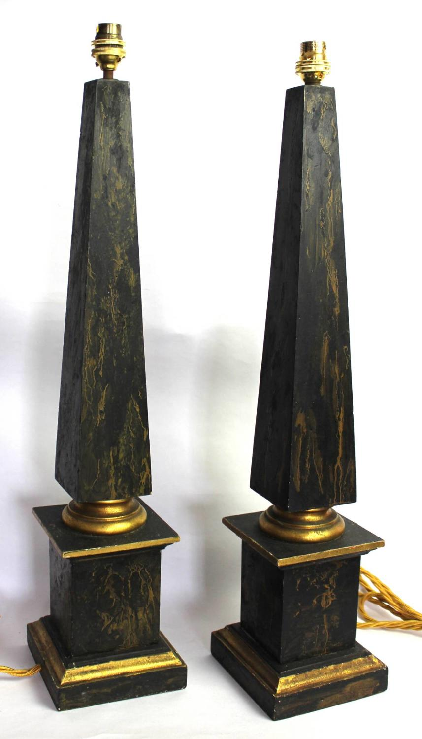 Pair of Faux Marble Obelisk Table Lamps