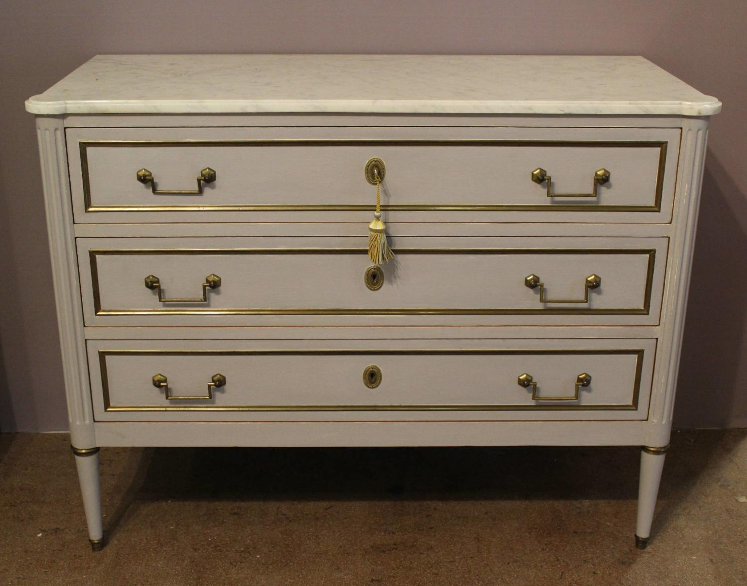Louis XVI Style Brass Mounted Painted Commode