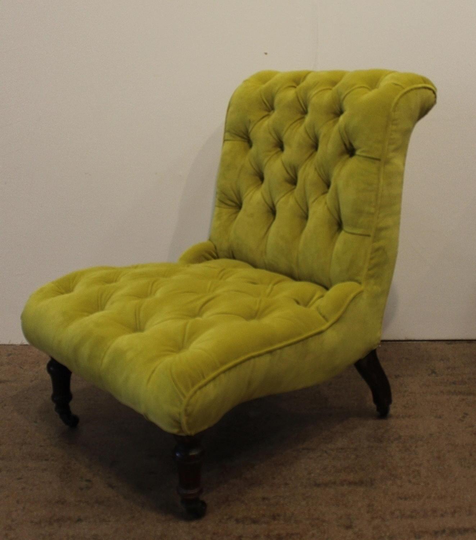 Antique Button Upholstered Chartreuse Velvet Slipper Chair