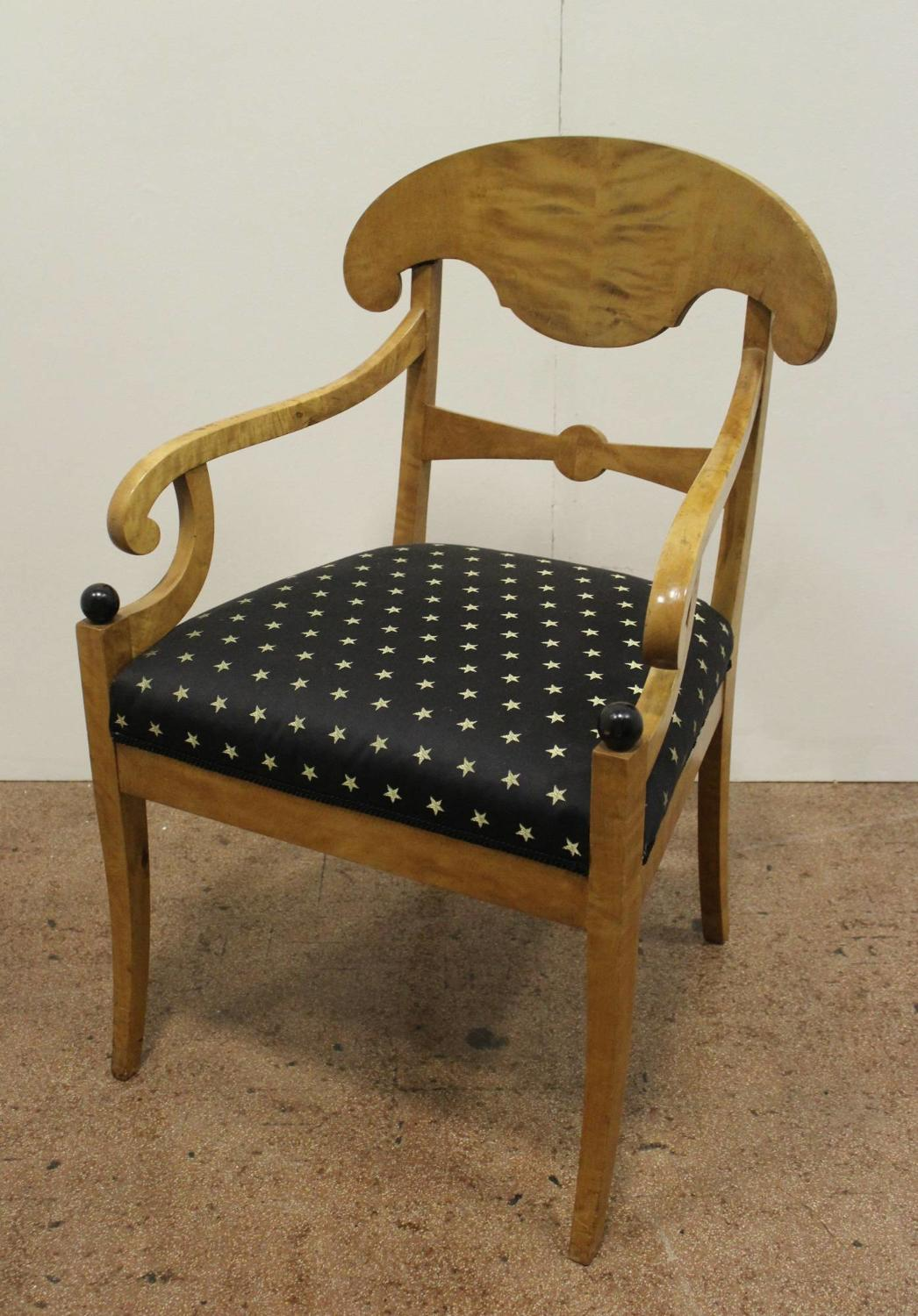 Swedish Biedermeier Satin Birch Armchair
