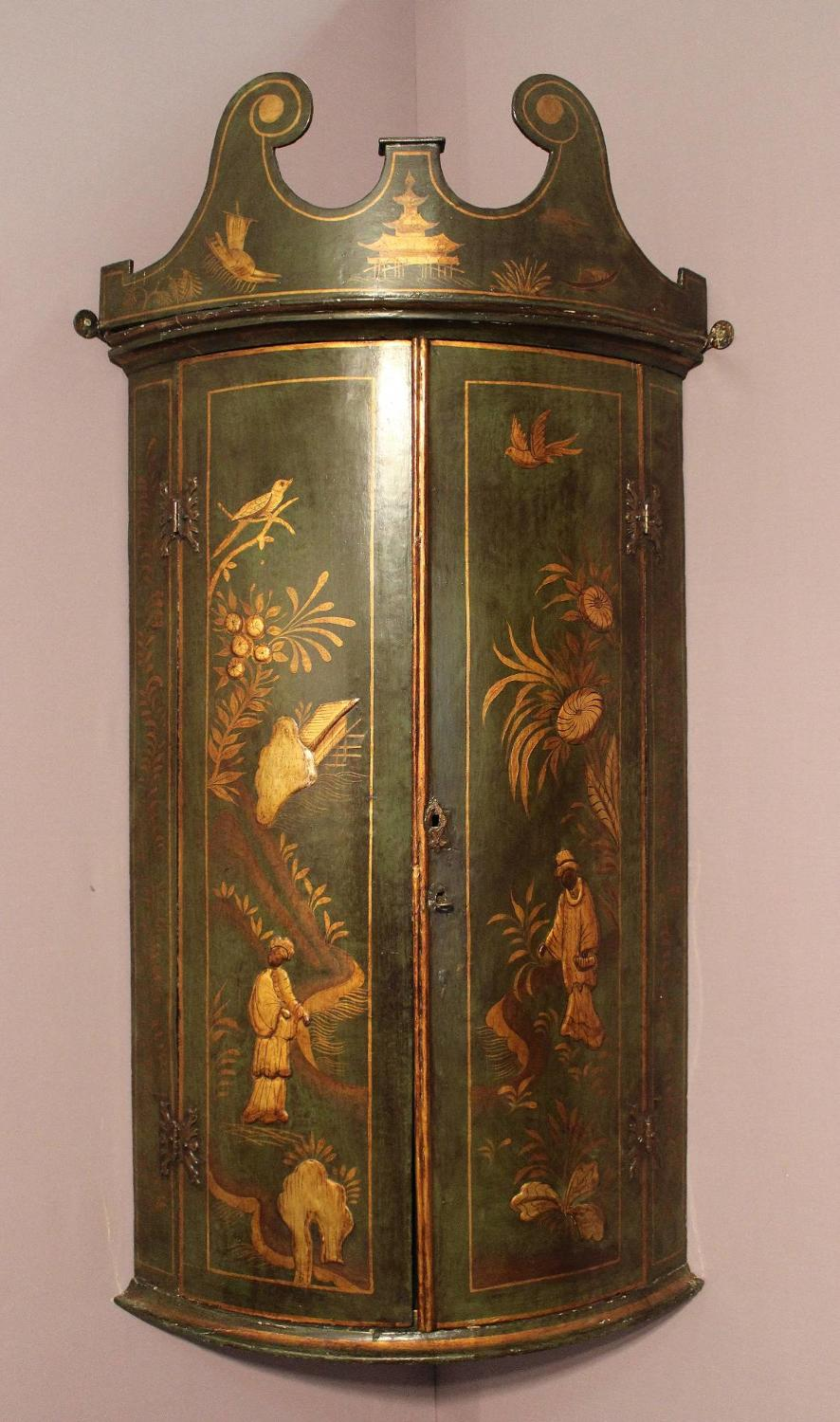 Georgian Chinoiserie Decorated Bowfront Corner Cupboard