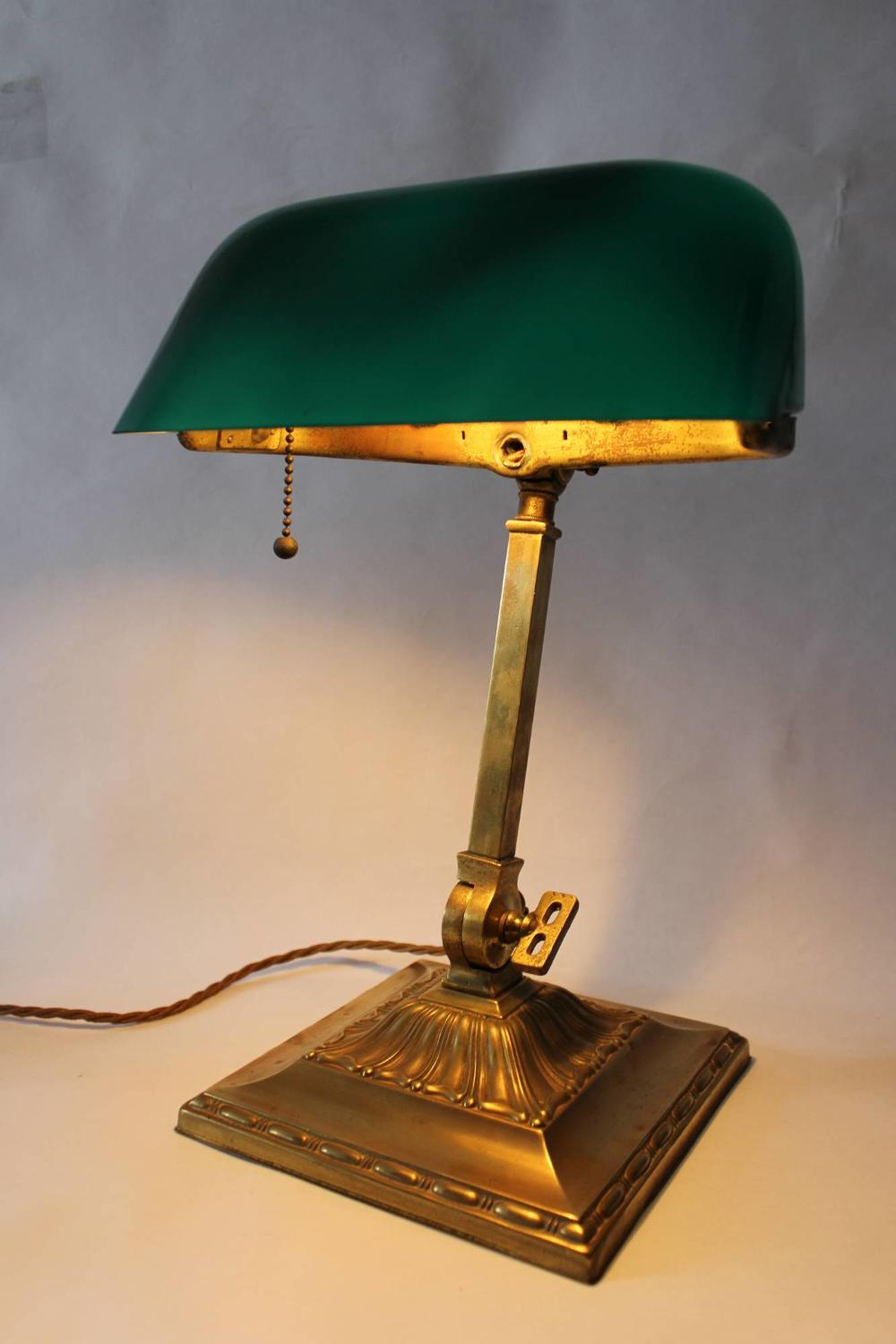 Emeralite Articulated Brass Bankers Lamp
