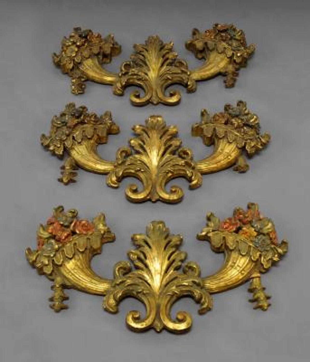 Three Continental Carved Giltwood Wall Sconces