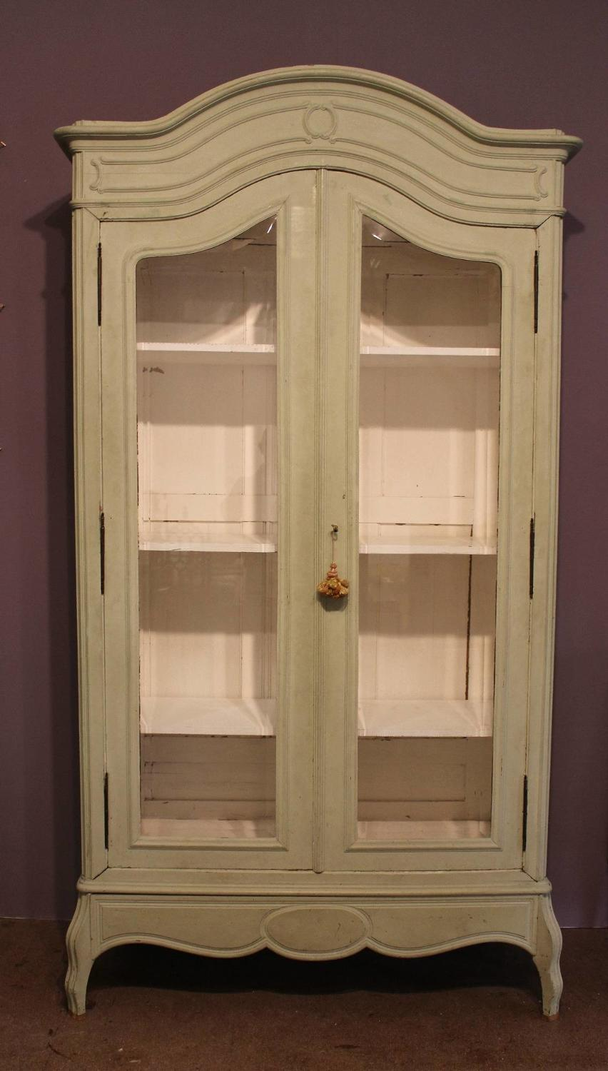 Antique Painted French Glazed Armoire / Cabinet