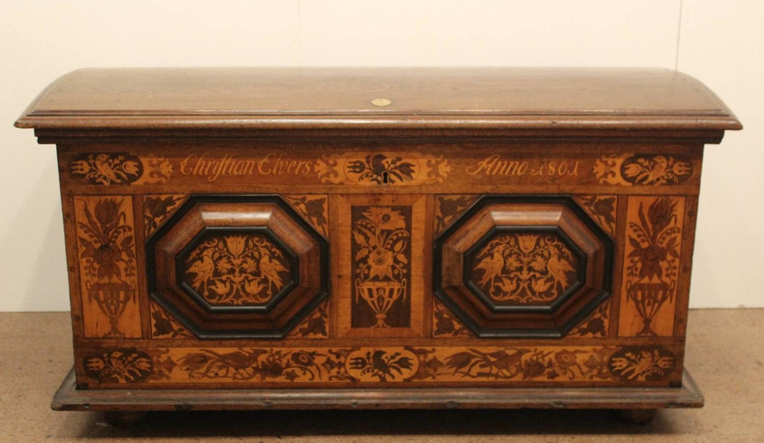 Dutch Marquetry Marriage Chest dated 1801