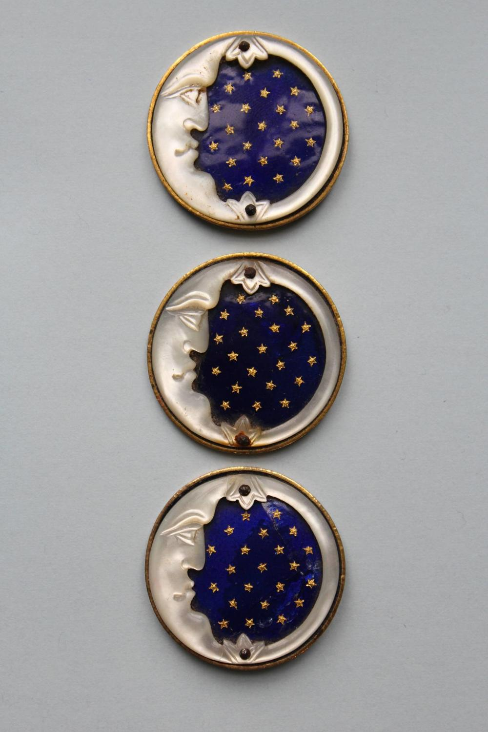 French Mother of Pearl & Enamel Buttons