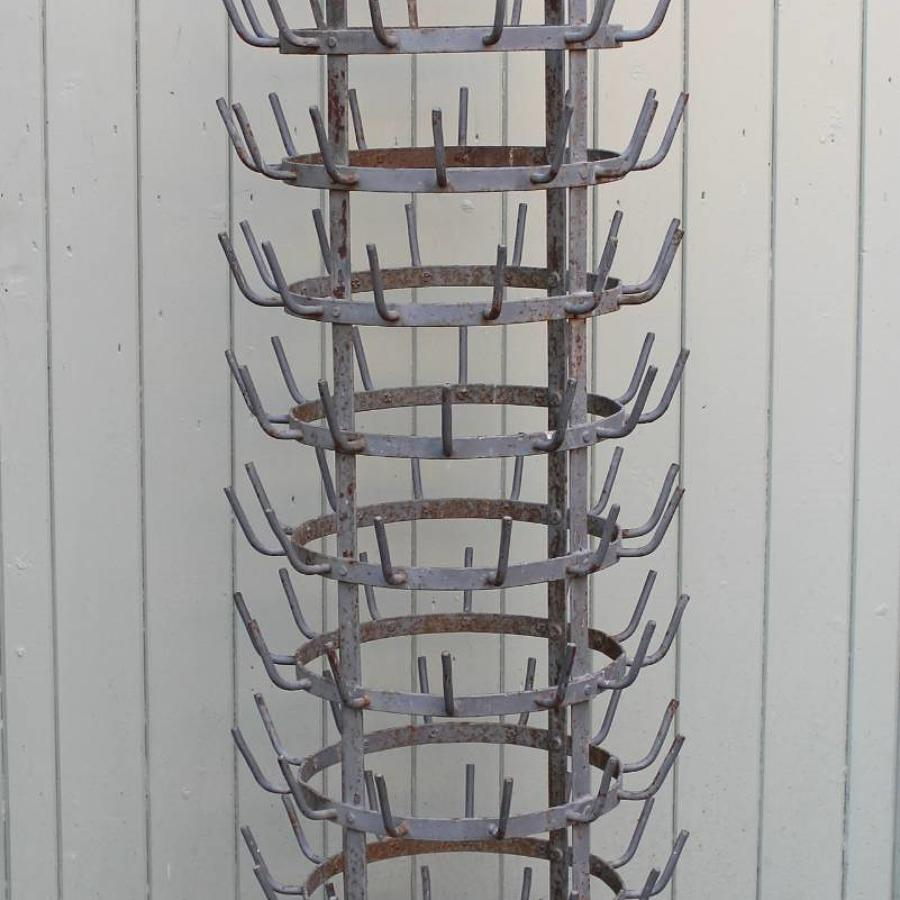 Huge Vintage French Bottle Drying Rack