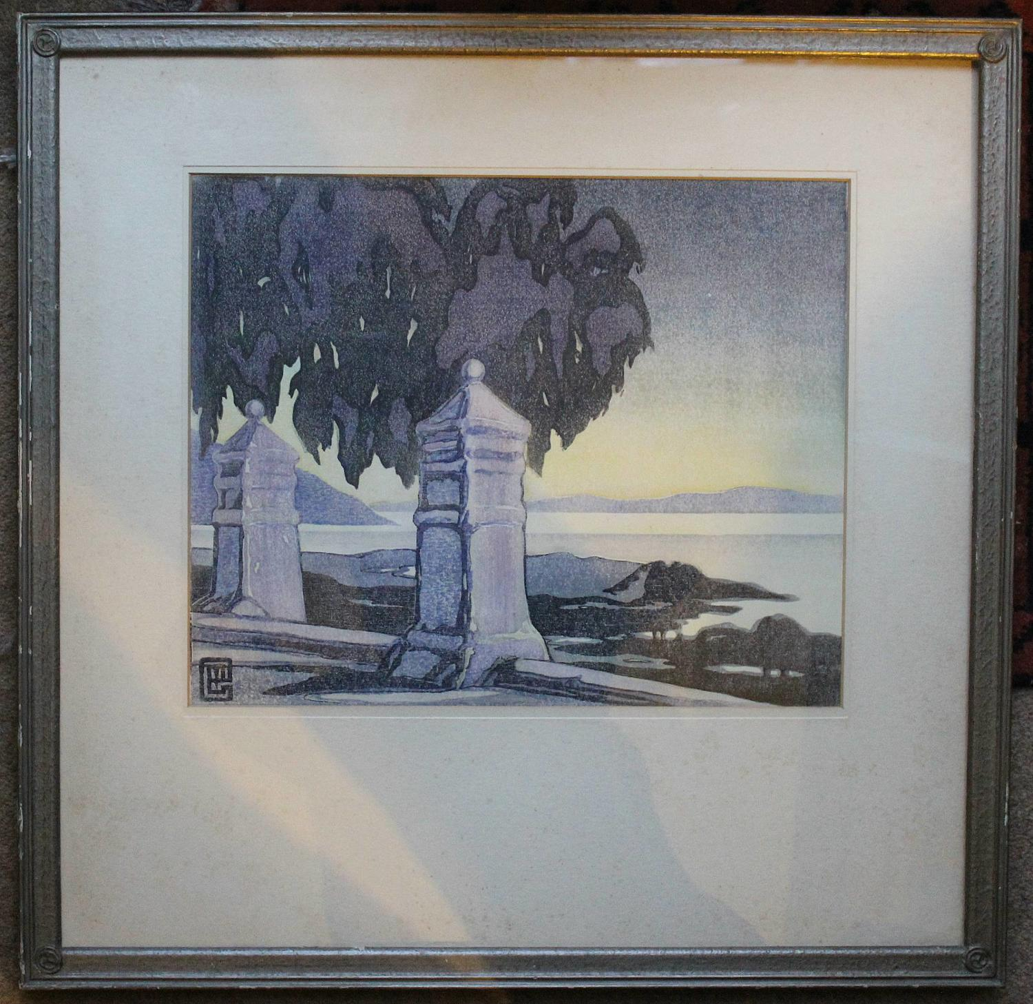 Marion Gill, Cape Sunset, South Africa, Woodblock Print