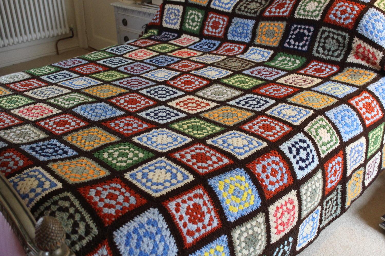 Vintage 'Granny Squares' Crochet Blanket