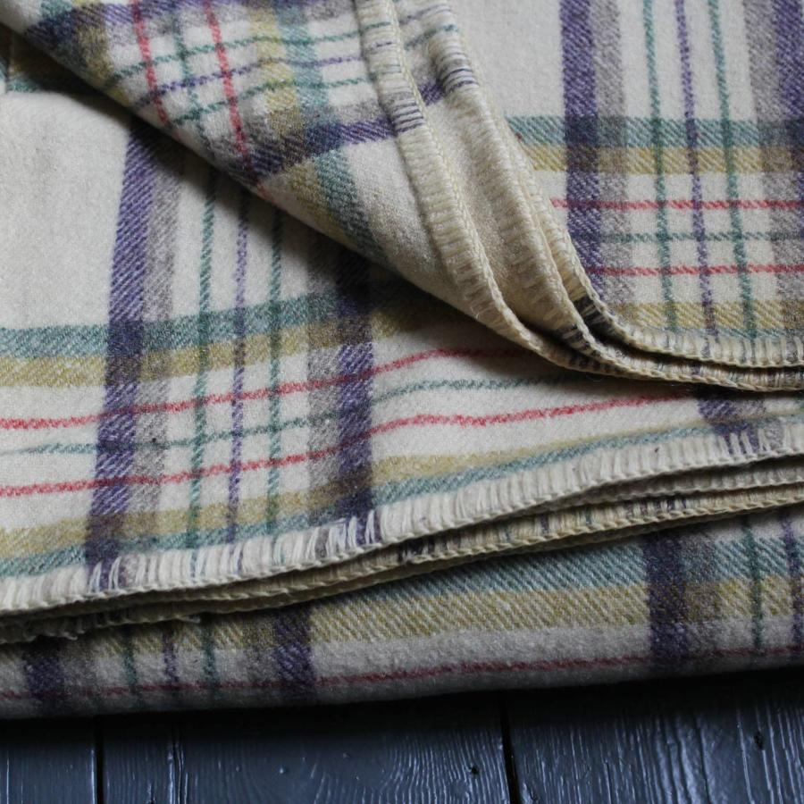 Vintage Welsh Wool Check Blanket