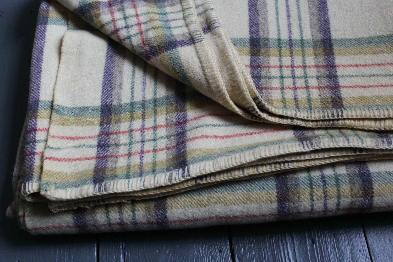 Vintage Welsh Wool Check Blanket