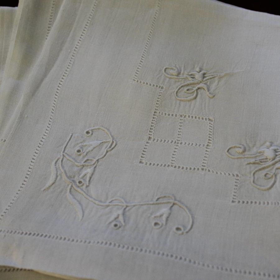 11 Antique French Monogrammed Linen Napkins