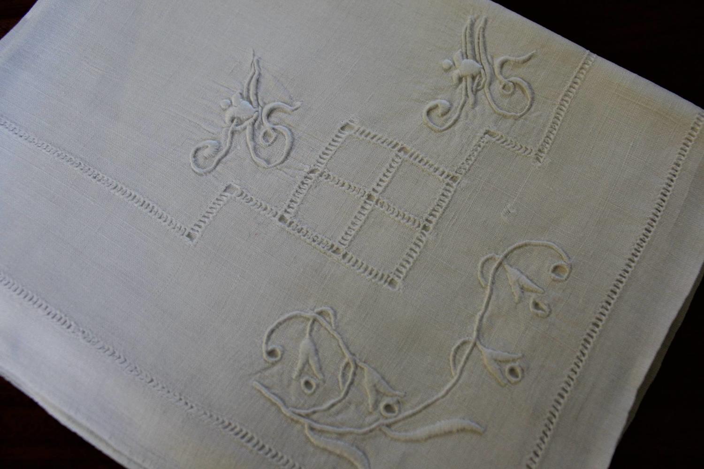 11 Antique French Monogrammed Linen Napkins