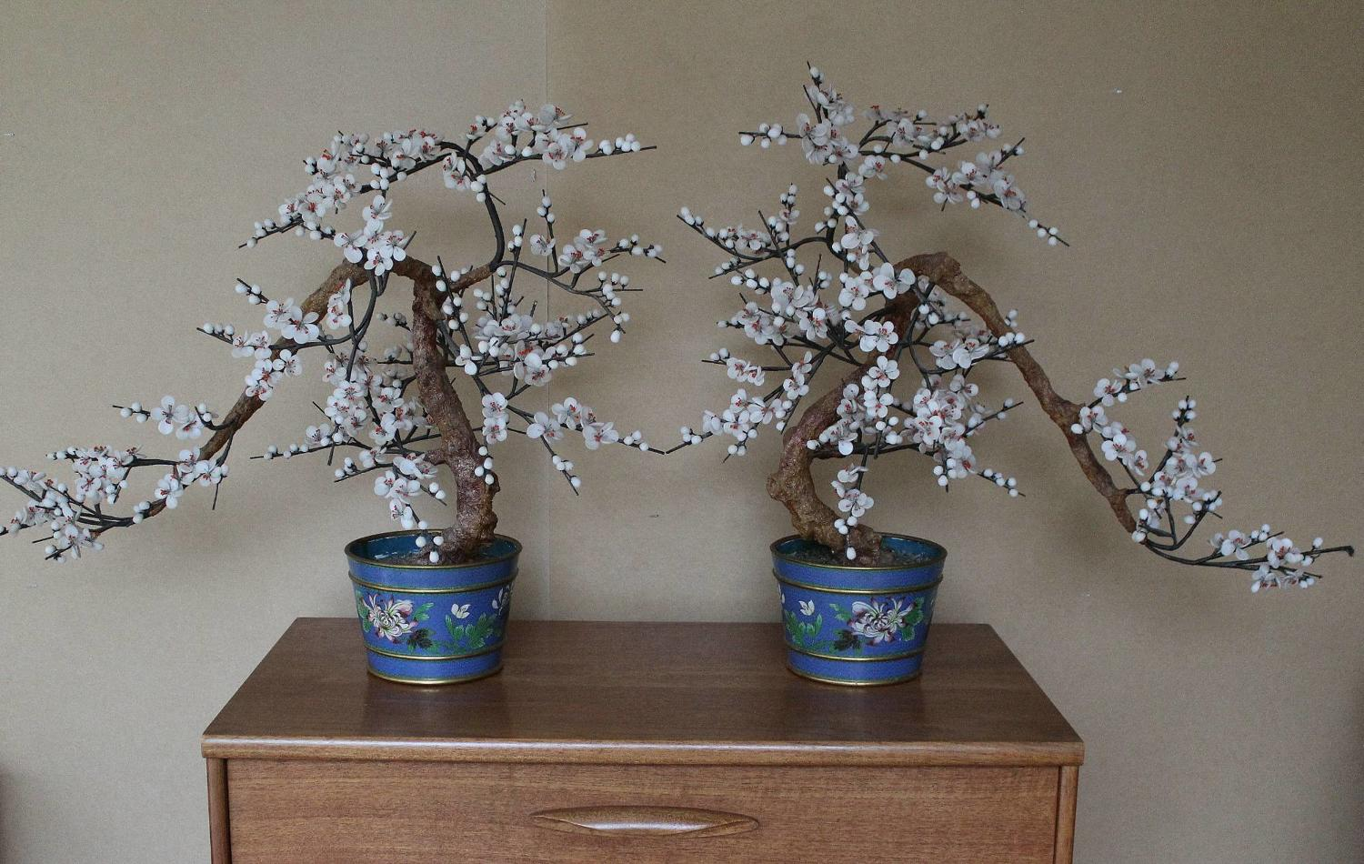 Large Pair of Chinese Cloisonne & Hardstone Trees