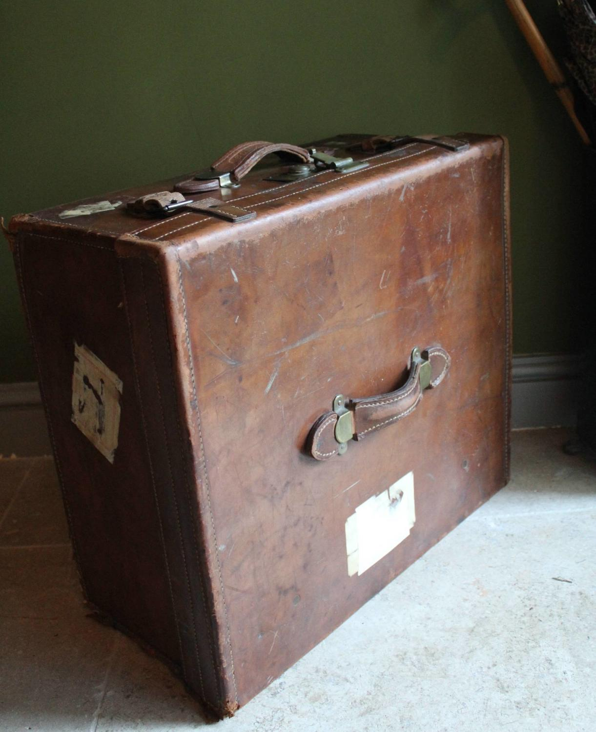 Antique Brass Mounted Brown Leather Suitcase