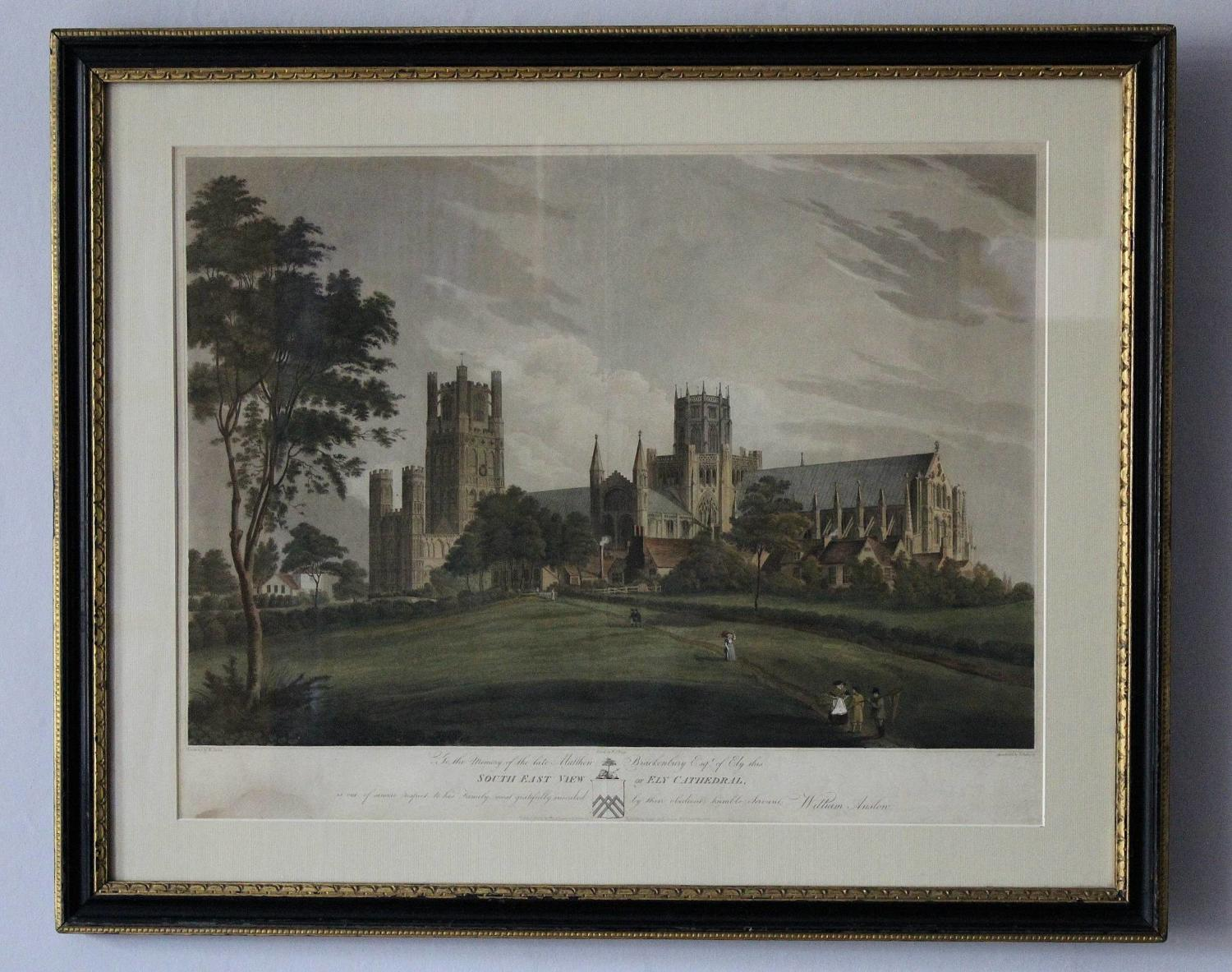 After William Anslow Hand Coloured Aquatint of Ely Cathedral, 1813
