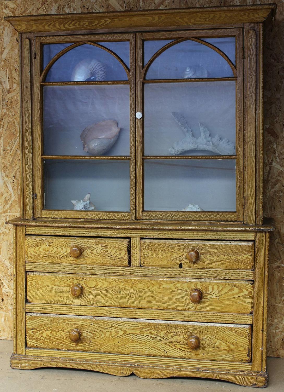 Victorian Scumble Glazed Pine Dresser \ Cabinet