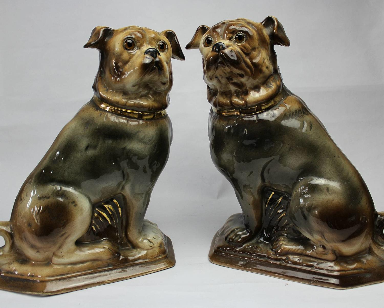 Pair of Scottish Bo'ness Pottery Pug Dogs